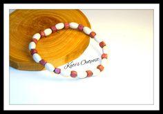 Handmade White & Purple Wood Beaded Bracelet - pinned by pin4etsy.com