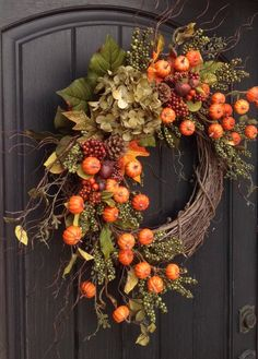 Fall Wreath-Autumn Wreath-Thanksgiving-Orange Berry-Grapevine This rustic pumpkin comes to life with a few grapevine wreaths and a branch for a stem. Burlap Owl Summer Wreath for Door, Front Door Wreath, Spring Wreath, Outdoor … FOCUS ON: DOORS Thanksgiving Wreaths, Thanksgiving Decorations, Holiday Wreaths, Elegant Fall Wreaths, Easter Wreaths, Mesh Wreaths, Autumn Display, Fall Displays, Autumn Decorating