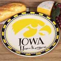 Serve your game day treats in school pride style with this Iowa Hawkeyes ceramic plate!