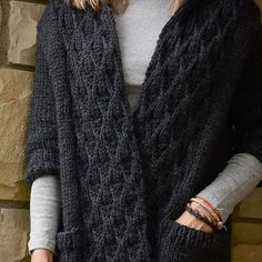 Free knitting pattern for cable jacket sweater. Gorgeous knit coat! Big yarn, big needles = fast knit.