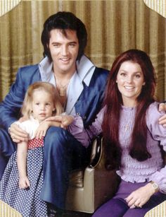 Elvis Presley with his wife Priscilla and daughter Lisa Marie in 1969.