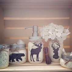 Hand Painted Mason Jar Bath Set Rustic Animals Woodland Animals Moose Decor Bear Country Deer Bear Mason Jars Country Decor hunting by MidnightOwlCandleCo on Etsy Mason Jar Seifenspender, Painted Mason Jars, Mason Jar Crafts, Country Decor, Rustic Decor, Log Decor, Wall Decor, Moose Decor, Deer Head Decor