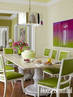 Breakfast room design by Pat Healing. If i only had a breakfast room. Green Dining Room, Green Rooms, Dining Room Design, Interior Design Kitchen, Green Kitchen, Design Room, Chair Design, Estilo Interior, Creation Deco