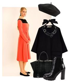 """""""Coral modest midi dress"""" by marika79 ❤ liked on Polyvore featuring Marni, Fendi, Jeffrey Campbell, Lanvin and Accessorize"""