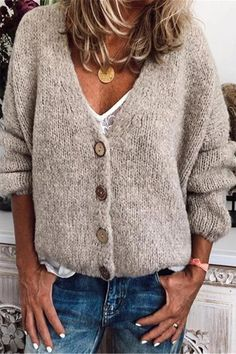 Casual Cotton-Blend V Neck Cardigan-Outerwear, Beige / XL Look Fashion, Fashion Outfits, Daily Fashion, Plus Size Outerwear, Winter Stil, Fall Winter, V Neck Cardigan, V Neck Sweaters, Cardigans For Women