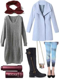 Galaxy print leggings, grey sweater dress, black boots, maroon scarf, baby blue coat