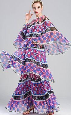 Ethnic O-Neck Cape Sleeve Layered Print Maxi Dress
