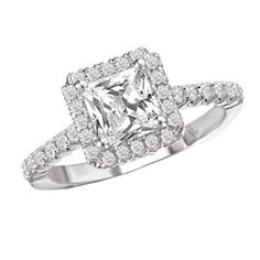 14k White Gold 3/8ct TDW Diamond and CZ Center Engagement Ring (G-H, SI1-SI2) $720