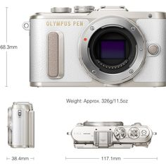 Above, Olympus PEN E-PL8 (White). Olympus PEN E-PL8 Entry-Level Mirrorless: Stylish, Compact & Lightweight; High-Speed Touch AF; Selfie Mode Activates When LCD Monitor Flips Downward; Video Selfie Mode; e-Portrait Mode to Smooth Skin Tones; Enhance Your Creativity with Olympus Image Palette; Easy Connectivity Via Built-in Wi-Fi and Olympus Image Share Smartphone App http://www.photoxels.com/pr-olympus-epl8/