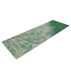 "!6552# Kess InHouse Angie Turner ""Fuzzy Wishes"" Yoga Exercise Mat, Green/White, 72 x 24-Inch"