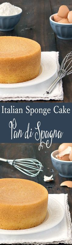 Sponge Cake (Pan di Spagna) Pan di Spagna is an Italian sponge cake made with only 3 ingeredients: no baking powder, no butter, no eggs!Pan di Spagna is an Italian sponge cake made with only 3 ingeredients: no baking powder, no butter, no eggs! Italian Desserts, Just Desserts, Dessert Recipes, Italian Pastries, Italian Sponge Cake, Italian Cake, Lemon Sponge Cake, Lemon Cakes, Italian Cookies