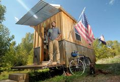 Greg Parham of Durango says his tiny house has all the necessary amenities – a loft for sleeping, and a kitchen with a stove and water heate...