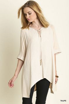 NWT Umgee WC3140 Oversized Beige Taupe Short Sleeve Tunic Cotton Rich XL 1X 2/3X #Umgee #Tunic #Casual