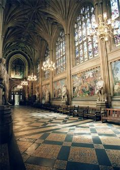 St. Stephen's Hall inside the Houses of Parliament, London