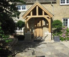 Oak porch listed building sat on a dwarf wall adding loads of character to this detached stone cottage. The seasoned oak adds shakes to the apprearance. Cottage Front Doors, Front Door Porch, Riverside Cottage, Picture Boxes, Listed Building, Modern Door, Modern House Design, House Styles, Porches