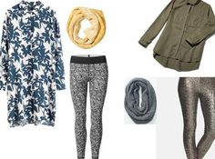 Leggins, shirt dress and infinity scarfs: perfect look for a cozy office day!