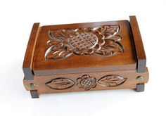 Large Wood Carved Jewelry Box Antique by LittleWoodCottage on Etsy