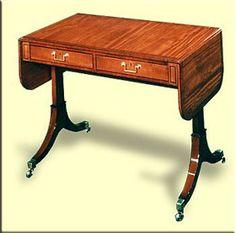 21.Furniture: Desk, (Sheraton) gaming table, Thomas Sheraton style
