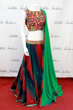 PalkhiFashion Exclusive Multi Colored Art Silk Full Flair Chaniya Choli with Hand worked Blouse and SilkDuppata.