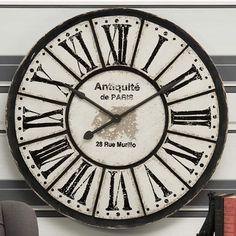 Large Cream & Black 'Antiquite De Paris' Clock.