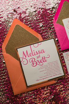 ADELE Suite Fancy Glitter Package, coral, hot pink, gold glitter, gold mirror, letterpress wedding invitations, calligraphy wedding invitations