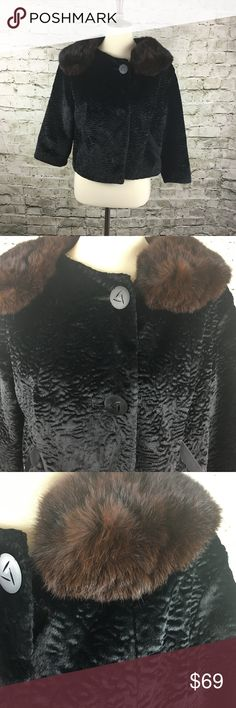 """Vintage Faux Persian Lamb Cropped Jacket Gorgeous and chic faux Persian lamb with genuine rabbit fur collar in excellent vintage condition from A Winter Product!  The collar needs a bit of touch up but otherwise in great shape.  Jacket hits just below waist and sleeves are bracelet length.  Fits like a modern size 10-12 which is unusual for vintage fashion - this is a great find!  Measurements:  Length: 18"""" Bust: 37"""" Shoulder: 19"""" A Winter Product Jackets & Coats"""