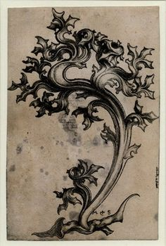Leaf ornament with thistle-shaped leaves Engraving