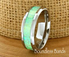 Opal Wedding Band Flat High Polished Beveled Customized Tungsten Band Any Design Laser Engraved Ring Mens Tungsten Ring Modern New Classic by BoundlessBands on Etsy https://www.etsy.com/listing/226576411/opal-wedding-band-flat-high-polished