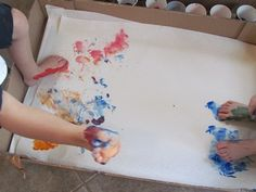 """Footprint Painting!  My kids walked across a t-shirt (with paint on their feet) and I wrote """"My kids walk all over me"""" and we gave it to my husband for Father's Day one year."""