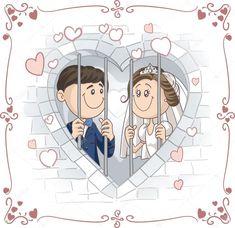 creative bride: Just Married Couple in Jail Vector Cartoon Illustration Couple Cartoon, Cartoon Pics, Wedding Images, Wedding Cards, Happy Anniversary Wedding, Bride And Groom Cartoon, Cartoon Template, Wedding Drawing, Cardboard Box Crafts