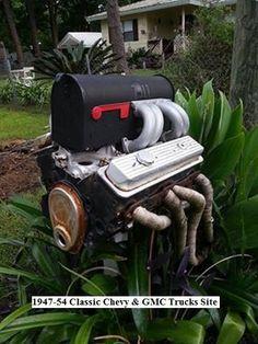 Motor mailbox Dream Car Garage, Gmc Trucks, Car Shop, Mailbox, Dream Cars, Chevy, Outdoor Decor, Mail Drop Box, Mail Boxes