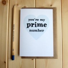 Maths Geek Valentine's Card 'You're my prime by BookishlyUK