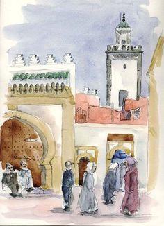 Essaouira, dans la medina - Peinture,  20x30 cm ©2004 par Catherine Rossi -                            Cultures du monde, Maroc Essaouira