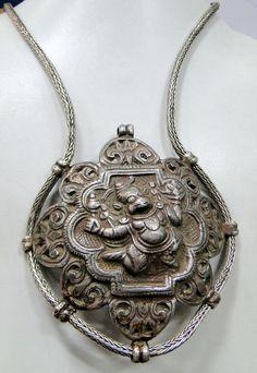 antique tribal ethnic old silver Hanuman pendant necklace - 9004 via Etsy