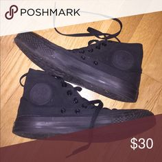 All Black Converse high-tops Perfect condition, women's Size 8.5, all black Converse high tops. Converse Shoes Sneakers