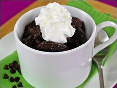 Mississippi Mud Cake in  Mug - Hungry Girl style!  This is so quick and yummy when you want that gooey chocolate fix without a lot of calories!