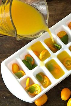 CITRUSY SUMMER ICE CUBES (Paula Deen)...16 kumquats-sliced,12 mint leaves-torn, 3/4c orange juice-fresh squeezed,1/4c @ lemon & lime juice-fresh squeezed...Thinly slice kumquats before adding to ice cube tray. Divide mint leaves & kumquats into @cube compartment of tray. Add OJ, lemon & lime juice to 2c glass measuring cup;combine. Add to cube tray;Freeze until solid(least 4hrs). NOTE: No kumquats? Use thinly slice lemon,limes quarters, or raspberries.