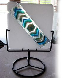 White Fused Glass Screen and Black Metal Base Candle by Chris1, $80.00
