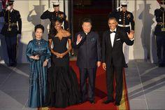 Michelle et Barack Obama, Xi Jinping et Peng Liyuan au dîner d'Etat à la Maison Blanche