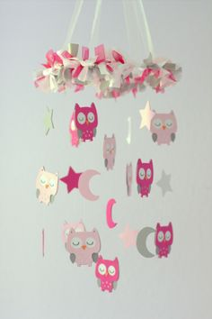 Owl Nursery Mobile in Hot Pink, Baby Pink, Gray  White