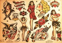 old flash tattoo sheet - Sök på Google