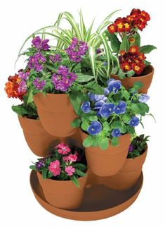 Stacked Pots Planter   Bloomers 3-tier Flower Tower Planter Herbs Garden Plant Planters ... #towergardenplants #towergardenflowers