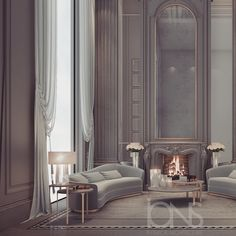 Fireplace lounge design- Abu Dhabi private palace - by IONS DESIGN