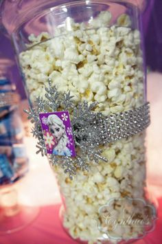 Frozen theme candy buffet, desert table at the ice rink  pop corn