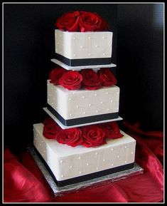 pictures of 3 tiered red and white wedding cakes | Black and White Wedding Cake — Square Wedding Cakes: