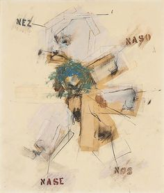 Larry Rivers (1923-2002) - Noses, 1962 collage of various papers, gouache, graphite and tape on paper - 15 1/8 x 12 3/4 inches, signed and dated - Michael Rosenfeld Art
