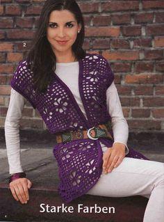 Crochetemoda: Crochet - Colete Roxo