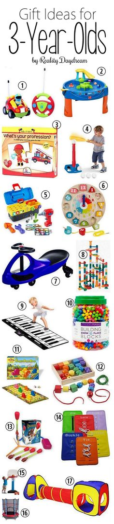 Gift Ideas for 3 year olds - boys AND girls! {Reality Daydream}