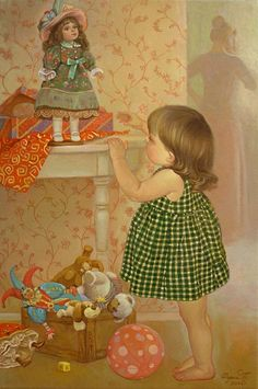 Tatyana Deriiy, artist - Paintings and art prints by Russian realist painter Tatyana Deriy at contemporary art gallery ArtRussia. Portraits of children. E Book, Art Themes, New Dolls, Buy Paintings, Colorful Paintings, Child Life, Dollhouse Dolls, Vintage Pictures, Artist Painting