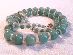 """Art Deco Peking Glass Bead Necklace, 20s, 30s. """"Faux"""" Jade Green. by GothiqueGirl on Etsy"""